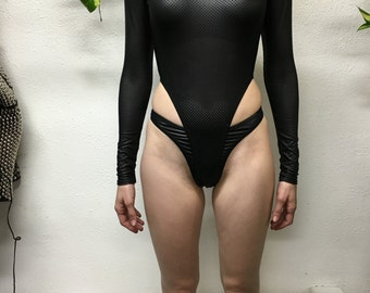perforated Leather Bodysuit
