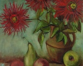 Oil painting with flowers and some fruit. Original one-of-a-kind oil painting . Ready to ship.