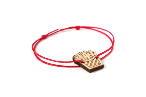 Fries bracelet - 25 colors - graphic food - chips bangle - adjustable length - lasercut maple wood - unisex jewelry - customizable