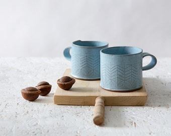 Blue Ceramic mugs, Light blue coffee cups,  handmade coffee mug, Modern tea Cups, Minimalist turquoise coffee cups, latte  cups, SET OF FOUR