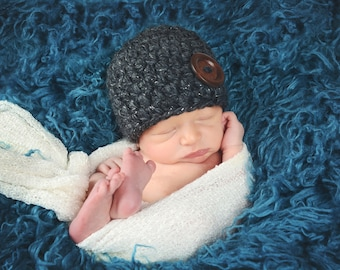 Baby Hat 0 to 3 Month Charcoal Gray Baby Hat Charcoal Baby Hat Baby Girl Hat Baby Boy Hat Wood Button Baby Shower Gift Silver Sparkle