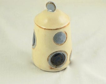 Ceramic Lidded Pottery Jar with Mod Dots - Valentine's Day gift, hand-thrown stoneware pottery ceramics, Urn, Storage Jar, Canister