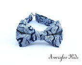 Navy Blue Paisley Bow Ties for Boys, Boys Bow Tie, Ringer Bearer Bow Tie, Men's Navy Blue Tie, Bowtie for Toddlers