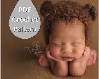 PDF Crochet Pattern #0005 Newborn Fuzzy Bear Bonnet, Tutorial, Pattern, Crochet Pattern, Easy, Beginner, Newborn Prop, Instruction, Hat, Boy