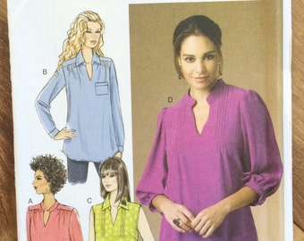 UNCUT Misses' Top, Shirt Blouse Butterick 5997 Size 8-10-12-14-16-18-20-22-24W Easy to Sew, Long Sleeve, Loose Fitting, Plus Size Shirt