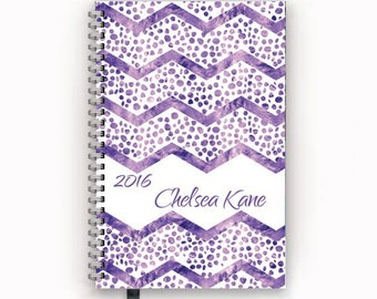2016 2017 Planner Purple and White Chevron Spots Personalized Academic or Family Calendar