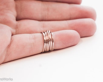 Rose Gold Stacking Rings - Thin Skinny Rose Gold Rings - Hammered 14k Rose Gold Filled - Dainty Thin Stacking Rings Textured