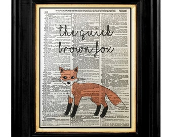 Brown Fox Print, Quick Brown Fox, Children Room Decor,  Dictionary Prints 8x10  Dictionary page, Dictionary art, Dictionary print