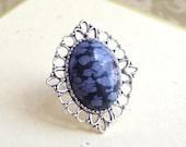 Snowflake Obsidian Ring Grey Silver Arabesque Ring Gemstones Art deco Victorian