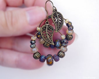 Fall Leaf hoop earrings, Autumn hoops, boho chic, Leaves, Brown jewelry, Altered, Edgy, hippie life, boho style, bohemian fashion