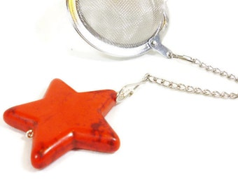 Tea Infuser with Red Star Charm