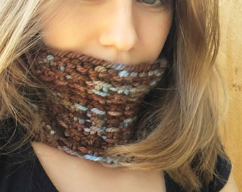 Hand Knit Cowl, Brown and Blue Cowl, Slip stich Cowl
