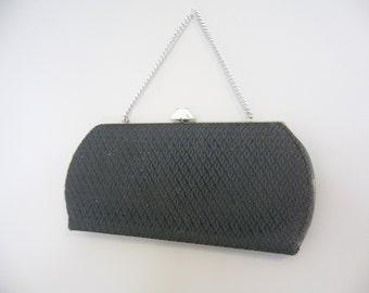 Vintage BLACK and SILVER HANDBAG/Crochet Knit Handbag/Evening Bag/Silver