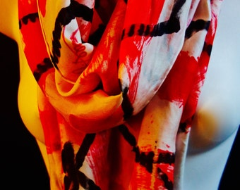 Red and Black Tracks SILK SCARF. Hand Painted Silk Scarf by New York City artist Joan Reese/100%Silk/11''x60""