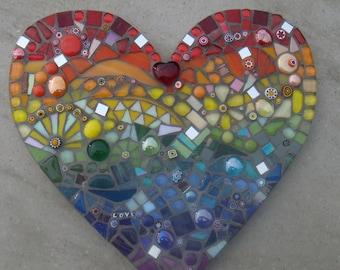 Outdoor Garden Decorations, Mosaic Rainbow Heart Ornament, Wall Hanging, patio gift, fun, quirky, rainbows end, handmade, uk, yard ornament
