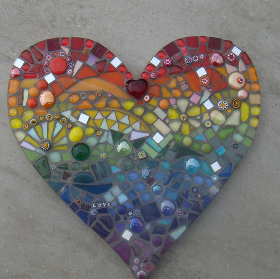 outdoor garden decorations mosaic rainbow heart ornament. Black Bedroom Furniture Sets. Home Design Ideas