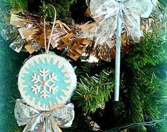 Snowflake Lollipop Ornament Blue white Sliver Glittered