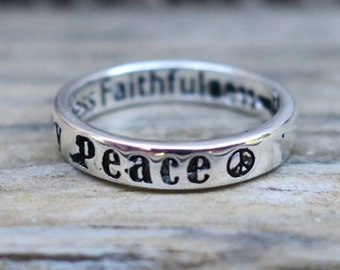 Vintage 925 Sterling Silver Message Ring