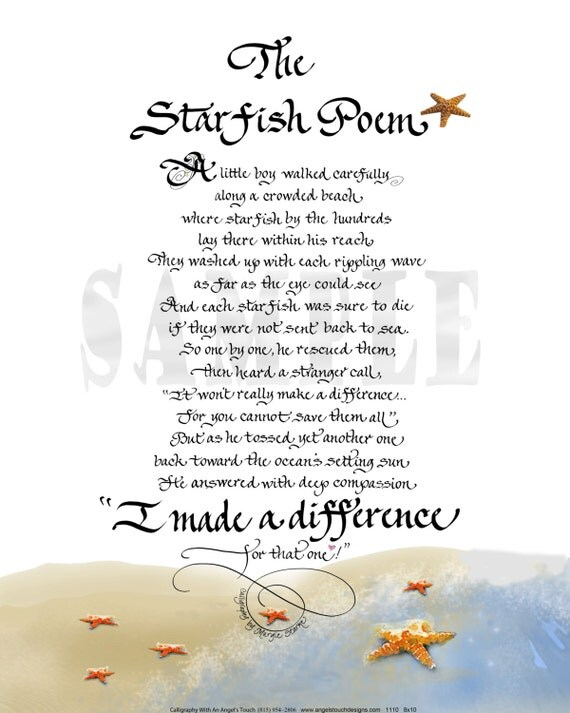 Items similar to the starfish poem 1110 5x7 print on for The fish poem