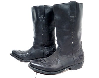 RESERVED Boots / Leather Boots / Buffalo Boots / Black Leather Boots / Western Boots / Biker Boots / Cowboy Boots / Man Boots - Size 42