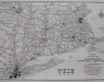 Rare MASSACHUSETTS Map Rhode Island Map Connecticut Map 1930 Road Map Gallery Wall Art Map Collector Gift for Traveler 6649