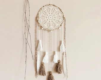 Unique dreamcatcher, white, brown, wall hanging, handmade, dream catcher, large, bedroom decor, boho bedroom, fiber art, wall decor, crochet