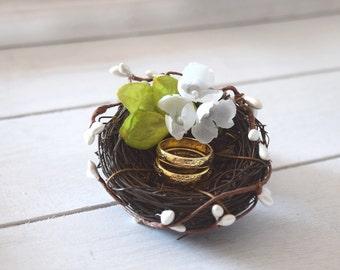 Ring bearer pillow Rustic nest ring pillow Rustic ring box Rustic wedding nest pillow Woodland ring holder Spring wedding