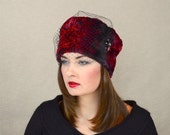 Black and Red Faux Fur Winter Hat with Black Birdcage Veil - Russian Hat - Vegan Winter Hat