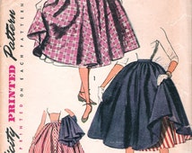 """Vintage 1951 Simplicity 3828 Teen Age Full Skirt & Petticoat Sewing Pattern Size Waist 26"""" Hip 35"""""""