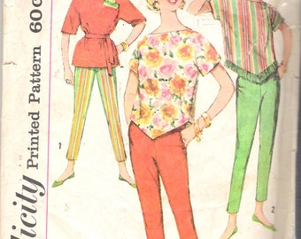Vintage 1960's Simplicity 3703 Tops & Pants Sewing Pattern Transfer Included Size 18 Bust 38""