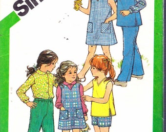 """Vintage 1981 Simplicity 5120 Child's Dress, Jumper or Top, Shirt and Pull-On Pants or Shorts Sewing Pattern Size 3 & 4 Breast 22""""- 23"""" UNCUT"""