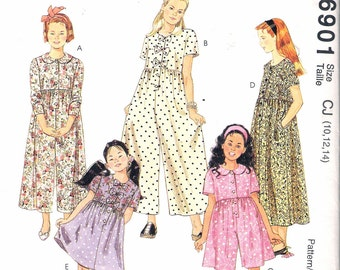 """1994 McCall's 6901 Girl's Jumpsuit in Two Lengths & Dress in Two Lengths Sewing Pattern size CJ 10,12,14 Breast 28 1/2"""", 30"""", 32"""" UNCUT"""