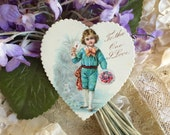 Authentic Petite Antique Valentine Die Cut Heart Card For Giving Crafting Collage Ephemera Scrap for Scrapbook Work