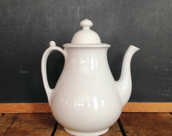 Antique Ironstone Teapot, White Ironstone Teapot by Burgess & Goddard, White Ironstone Tea Pot, 1800s