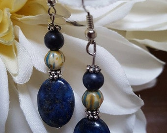 Lapis Lazuli Dangles with Light Green Czech bead Topped with  Sapphire Bead