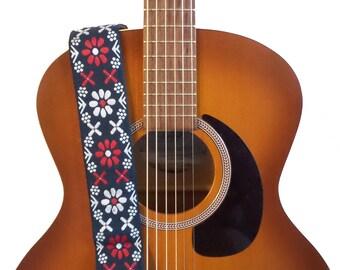 Hemp Guitar Strap - Americana Flowers Woven Ribbon on Organic Hemp Webbing - Vintage Style Strap - Acoustic, Electric and Bass Guitars