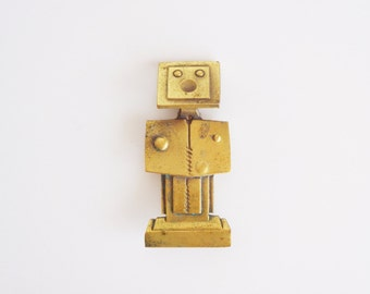 Vintage Gold Metal Robot Pin