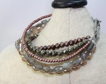 Labradorite multi stackable gemstone  bracelet Pearl and pyrite multi strand bracelet, antique silver chunky gemstone rose bracelet