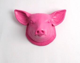 The Hamlet   Pink Faux Pig Head   Farmhouse Wall Decor   Pig Decor   Kitchen