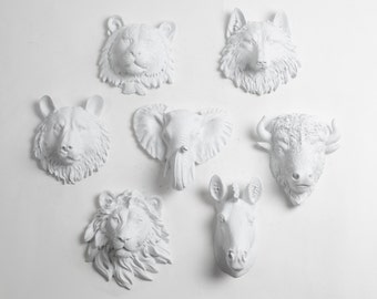 Faux Taxidermy - Create Your Own Zoo - Pick Any Five (5) White Miniature Faux Taxidermy Pieces From the Picture to Create Your Own Zoo