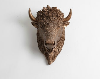 Small Bison Head Wall Mount, The SMALL Scarlett - Bronze Resin Bison Head- Buffalo Resin by White Faux Taxidermy