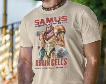 T Shirt of my Samus Aran Propaganda Retro Metroid inspired Art for Men and Women by Barrett Biggers