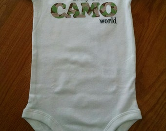 I'm the PINK in My Uncle's CAMO World! Perfect for Army, National Guard, Marine, Navy, or Air Force! Hand Painted Bodysuit