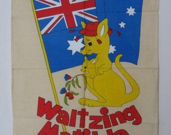 Vintage Tea Towel, Wall Hanging, Waltzing Matilda, Australia Souvenir, Kangaroo, NOS