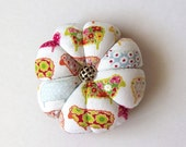 SHEEP Pincushion Bright Fabric. Great for a sewing gift - Round Pin cushion. Double sided sheep.  Needlework gift. Coloured sheep flock.