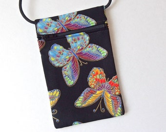 Pouch Zip Bag BUTTERFLY Fabric.  Great for walkers markets travel.  Cell Phone Pouch. Small  fabric purse. Black Evening purse gold accents.