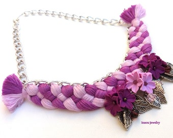 Flower Necklace, Pink Necklace, Violet Jewelry, Braided Necklace, Statement Necklace, Spring Jewelry, Gift For Her, Romantic Gift, Flowers