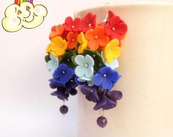 Rainbow Earrings Flower Earrings Dangle Earrings Ombre Earrings Rainbow Jewelry Gift For Her Statement Earrings MADE TO ORDER