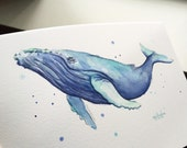 Humpback Whale Watercolor Painting, Humpback Whale Art, Whale Watercolor, Animal Painting, Whale Illustration, Colorful Animal Painting