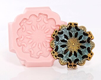 Scroll Work Medallion Silicone Mold- Cake Decorating Mold Fondant Gum Paste Chocolate Craft Jewelry Mold Resin Clay Steampunk Mold  (756)